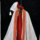 Antigüedades: PRECIOSA CAPA PLUVIAL CON CAPUCHA EN ROPA DAMASCADA DE APROXIMADAMENTE 1910. Lote 35946084