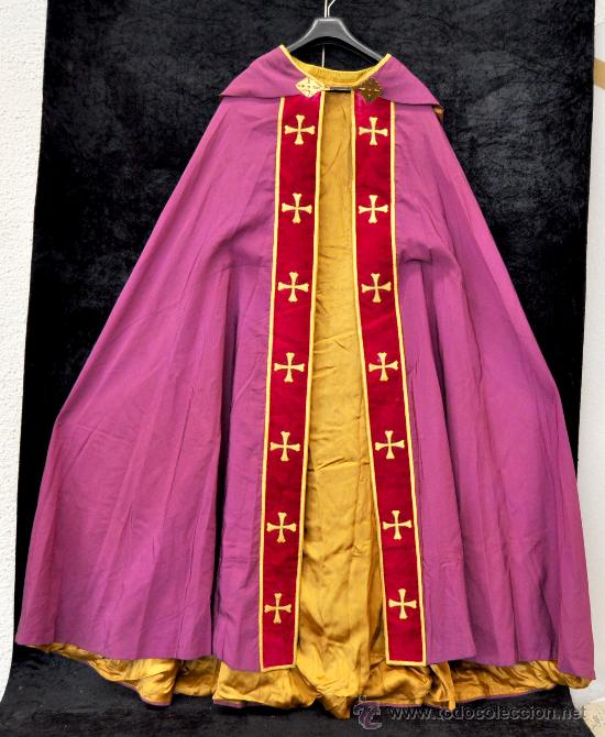 PRECIOSA CAPA PLUVIAL CON CAPUCHA DE APROXIMADAMENTE 1900 (Antigüedades - Religiosas - Capas Pluviales Antiguas)