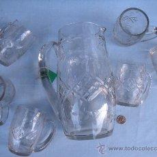 Antigüedades: JARRA GRANDE DE CRISTAL TALLADO CON 6 JARRAS PEQUEÑAS. SANTA LUCÍA, GRANJA ?. Lote 35981434