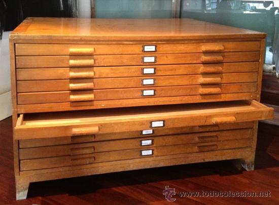 Antiguo archivador cajonero de madera para pla comprar - Mueble vintage segunda mano ...