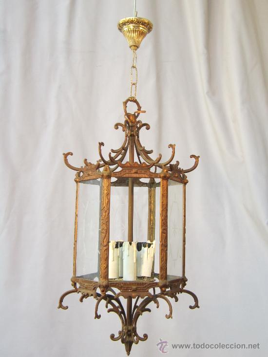 LAMPARA DE TECHO EN BRONCE Y CRISTAL (Antigüedades - Iluminación - Lámparas Antiguas)