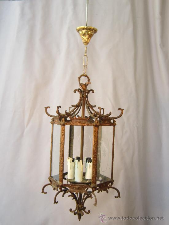 Antigüedades: LAMPARA DE TECHO EN BRONCE Y CRISTAL - Foto 2 - 35950830