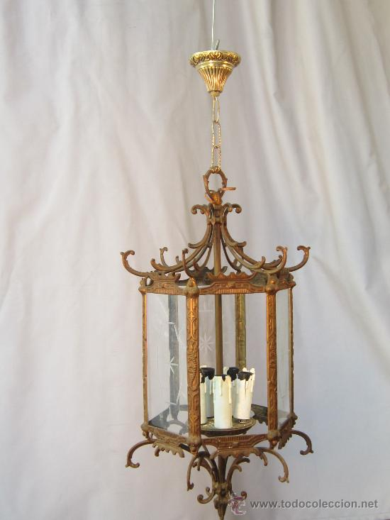 Antigüedades: LAMPARA DE TECHO EN BRONCE Y CRISTAL - Foto 3 - 35950830