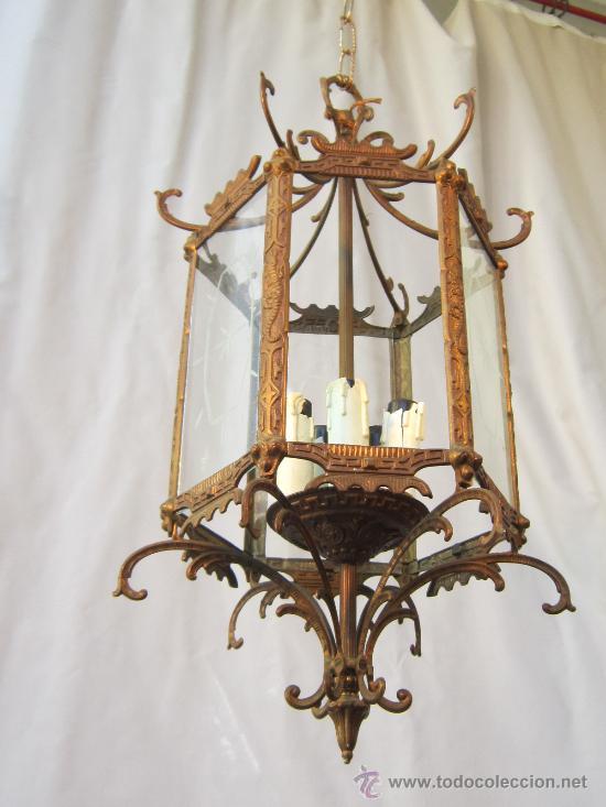 Antigüedades: LAMPARA DE TECHO EN BRONCE Y CRISTAL - Foto 5 - 35950830