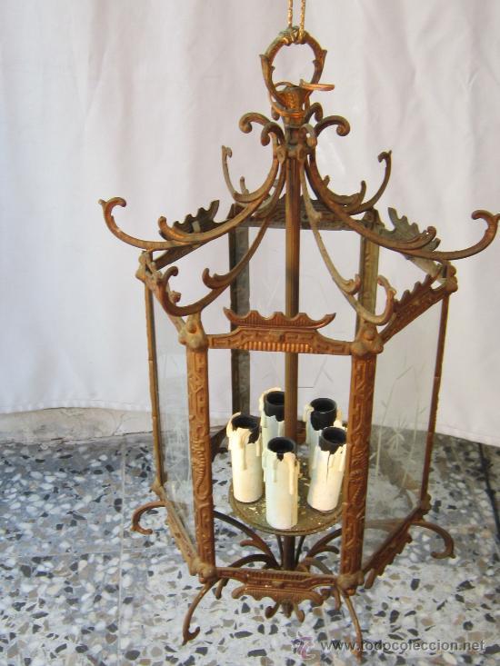 Antigüedades: LAMPARA DE TECHO EN BRONCE Y CRISTAL - Foto 6 - 35950830