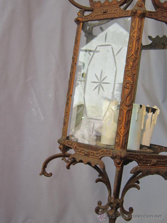 Antigüedades: LAMPARA DE TECHO EN BRONCE Y CRISTAL - Foto 7 - 35950830