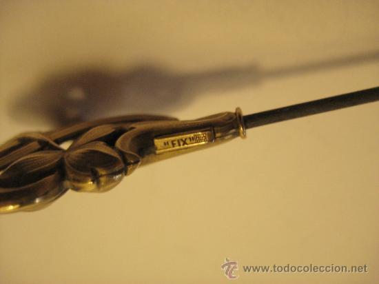 Antigüedades: PAREJA DE AGUJAS ALFILERES SOMBRERO MODERNISTAS. CABEZAL: 3 X 2,5 CM. LARGO TOTAL 23 CM. MARCAS - Foto 7 - 35964721