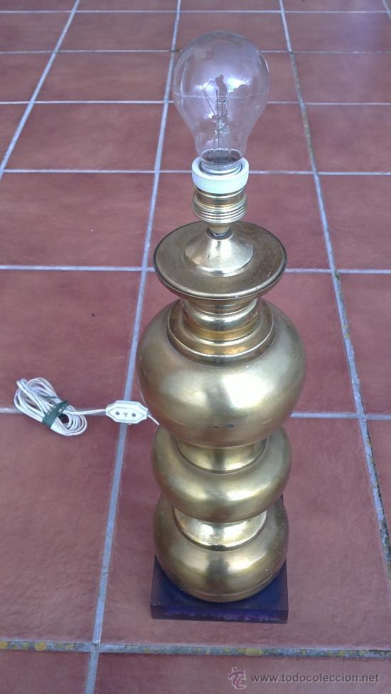 LAMPARA DE MESA DE BRONCE.BASE METRAQUILATO (Antigüedades - Iluminación - Lámparas Antiguas)