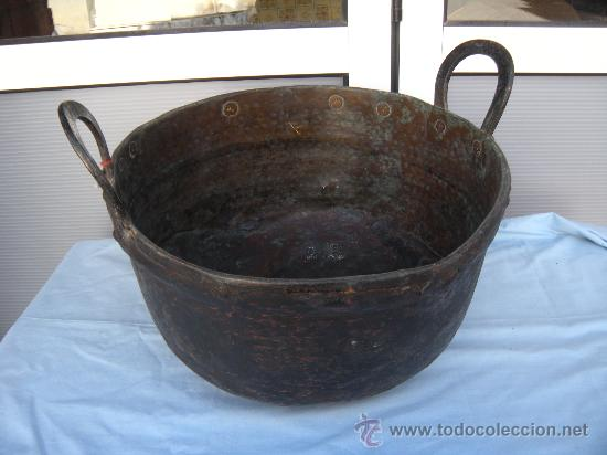 Antigüedades: ANTIGUA CALDERA DE COBRE CON REMACHES. S. XIX - Foto 5 - 35998043