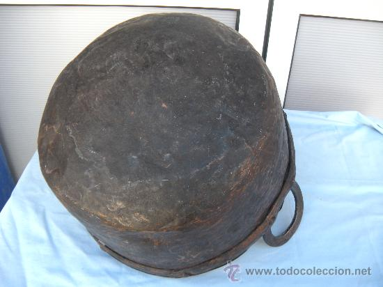 Antigüedades: ANTIGUA CALDERA DE COBRE CON REMACHES. S. XIX - Foto 3 - 35998043