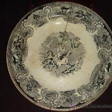 Antigüedades: PRECIOSO Y ANTIGUO PLATO DE CERAMICA DE CARTAGENA. SERIE GRIS. CON SELLO. LAÑADO. S. XIX. Lote 35997510