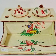 Antigüedades: TINTERO EN CERÁMICA DECORADA. LES ISLETTES, LORRAINE, FRANCIA. FINALES S. XVIII.. Lote 36025416