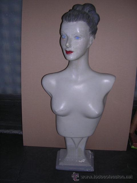 ANTIGUO MANIQUI DE ESTUCO ART-DECO ( NO REPRODUCCION ES DE EPOCA ) 90X40 CM. (Antigüedades - Moda y Complementos - Mujer)