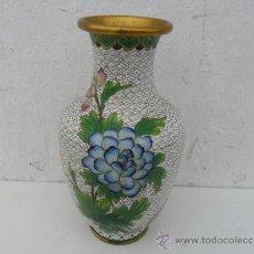 Antigüedades: JARRON DE METAL ESMALTADO ORIENTAL. Lote 36069392