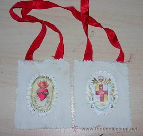 ANTIGUO ESCAPULARIO SAGRADO CORAZON APOSTOLADO DE LA ORACION 100 DIAS DE INDULGENCIAS (Antigüedades - Religiosas - Escapularios Antiguos)