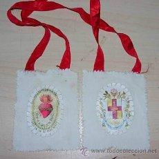 Antigüedades: ANTIGUO ESCAPULARIO SAGRADO CORAZON APOSTOLADO DE LA ORACION 100 DIAS DE INDULGENCIAS . Lote 36072542