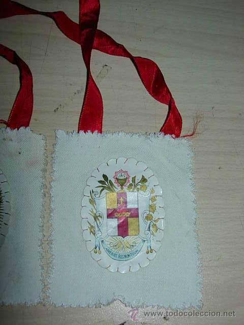 Antigüedades: ANTIGUO ESCAPULARIO SAGRADO CORAZON APOSTOLADO DE LA ORACION 100 DIAS DE INDULGENCIAS - Foto 2 - 36072542