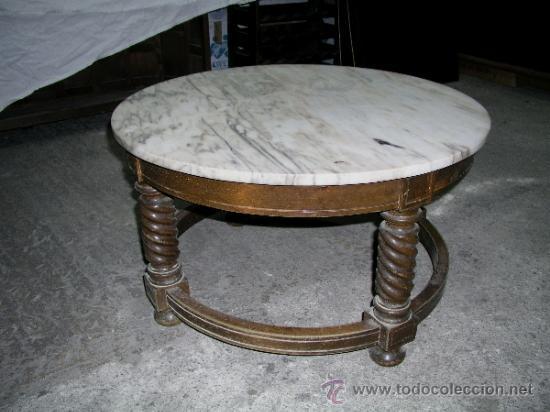Antigua mesa centro m rmol y madera comprar mesas - Mesas de centro antiguas ...