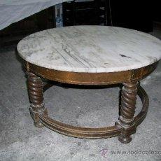 Antigüedades: ANTIGUA MESA CENTRO MÁRMOL Y MADERA.. Lote 36118763