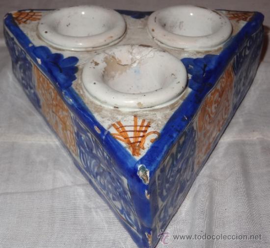 ESPECIERO CERAMICA ESMALTADA FIN XVIII PPIO XIX (Antigüedades - Porcelanas y Cerámicas - Talavera)