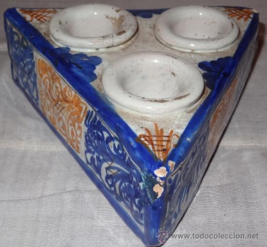 Antigüedades: ESPECIERO CERAMICA ESMALTADA FIN XVIII PPIO XIX - Foto 3 - 36121083