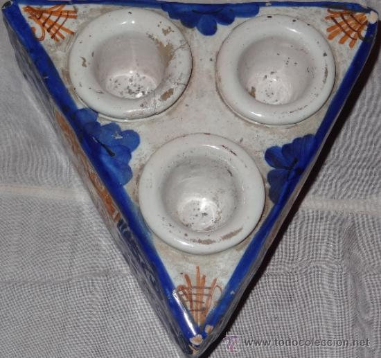 Antigüedades: ESPECIERO CERAMICA ESMALTADA FIN XVIII PPIO XIX - Foto 2 - 36121083