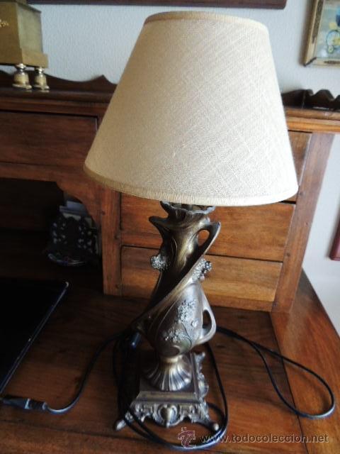 Antigüedades: PRECIOSA PANTALLA LAMPARA MODERNISTA DE CALAMINA - Foto 6 - 36125693