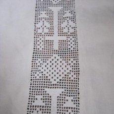 Antiquitäten - ANTIGUA PIEZA DE LINO CON ENCAJE RELIGIOSO DE CROCHET S. XIX - 36148357