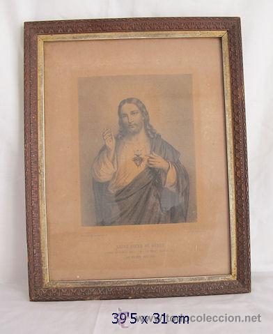CUADRO RELIGIOSO ANTIGUO CON MARCO TALLADO (Antigüedades - Religiosas - Varios)
