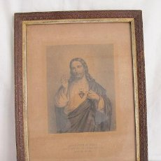 Antigüedades: CUADRO RELIGIOSO ANTIGUO CON MARCO TALLADO. Lote 36197182