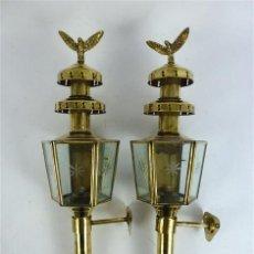 Antigüedades: PAREJA DE FAROLES DE METAL. Lote 77863145