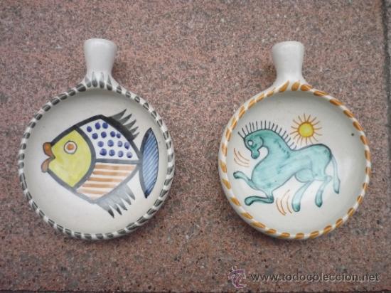 PAREJA DE CERÁMICAS DECORATIVAS DE TALAVERA DE LA MENORA (Antigüedades - Porcelanas y Cerámicas - Talavera)