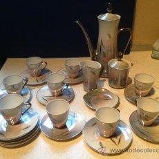 Antigüedades: JUEGO DE CAFE SAYPE LINEAS PLATEADAS VER FOTOS. Lote 36260064