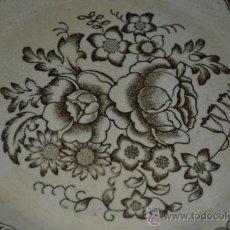Antigüedades: BONITO PLATO EN LOZA FINA DE SAN JUAN DE AZNALFARACHE,(SEVILLA),CON INUSUAL SELLO,S.XIX. Lote 36296655
