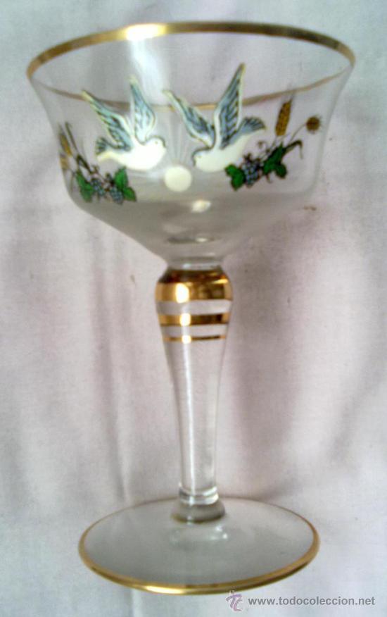 Botellas De Vino Decoradas Para Primera Comunion.Juego De Copas De Cristal Recuerdo Primera Comunion Cava Y Vino Anos 60