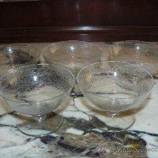 Antigüedades: CRISTAL TALLADO - 5 COPAS DE POSTRE. Lote 36290457
