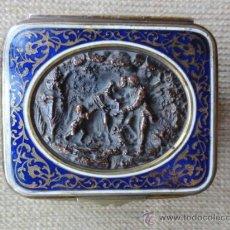 Antigüedades: CAJA FRANCESA METAL Y ESMALTE. Lote 36292652