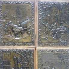 Antigüedades: LAS 4 ESTACIONES, PLACAS DE METAL PATINADO. Lote 36296469