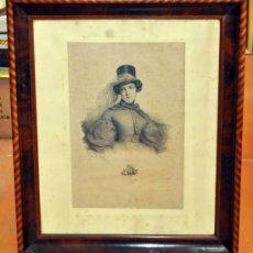 Antigüedades: PIERRE LOUIS GREVEDON (1776 - 1860) GRABADO ORIGINAL ENMARCADO CON IMPORTANTE MARCO DE CAOBA Y BOJ. Lote 36299345