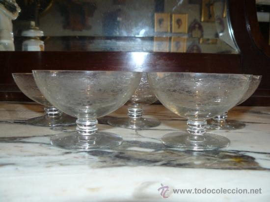 Antigüedades: CRISTAL TALLADO - 5 COPAS DE POSTRE - Foto 2 - 36290457