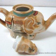 Antigüedades: BELLA TETERA DE PORCELANA CON FORMA DE ELEFANTE PROSPERIDAD. Lote 36306770