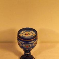 Antigüedades: COPA VIDRIO TALLADO BOHEMIA AZUL. Lote 36339161