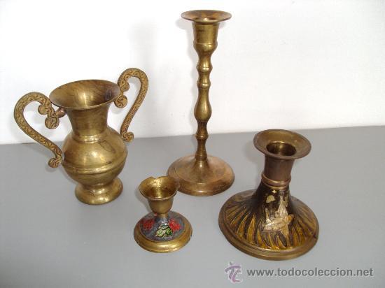 Antigüedades: bronce portavelas, jarrita con asas - Foto 2 - 36330366