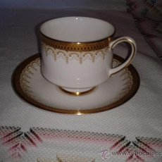 Antigüedades: BELLEZA. TAZA Y PLATO ROYAL PARAGON. BY APPOINTMENT TO HER MAJESTY THE QUEEN. BLANCO Y ORO.1900. Lote 50811712