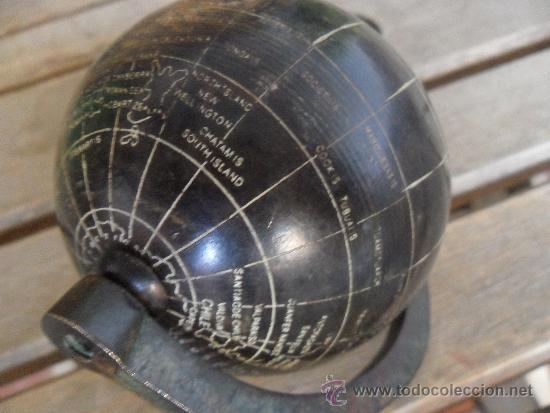 Antigüedades: ANTIGUO GLOBO TERRAQUEO EN METAL COBRE BRONCE NOMBRES TALLADOS EN INGLES Y CON PATINA BASE DE MADERA - Foto 13 - 36389481
