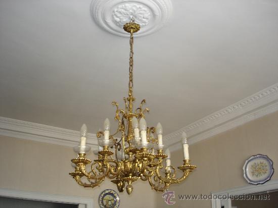 Lampara de techo bronce o laton con algun cr comprar - Lamparas cristal antiguas ...