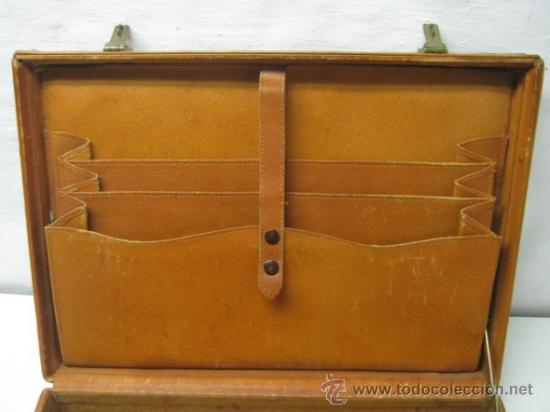 Antigüedades: 1930/50 - Antiguo bello maletin cartera portafolios en piel natural - Foto 4 - 36389392