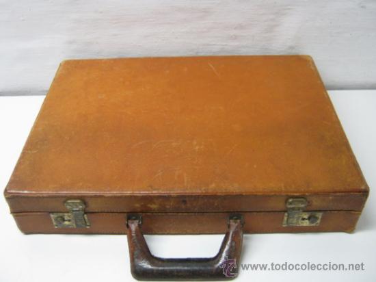 Antigüedades: 1930/50 - Antiguo bello maletin cartera portafolios en piel natural - Foto 2 - 36389392
