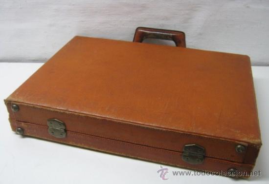 Antigüedades: 1930/50 - Antiguo bello maletin cartera portafolios en piel natural - Foto 3 - 36389392