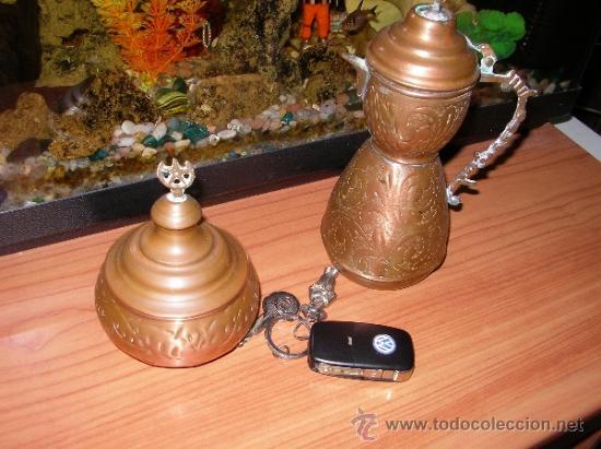 Antigüedades: Juego tetera con azucarero de cobre rojo - Foto 4 - 36400451